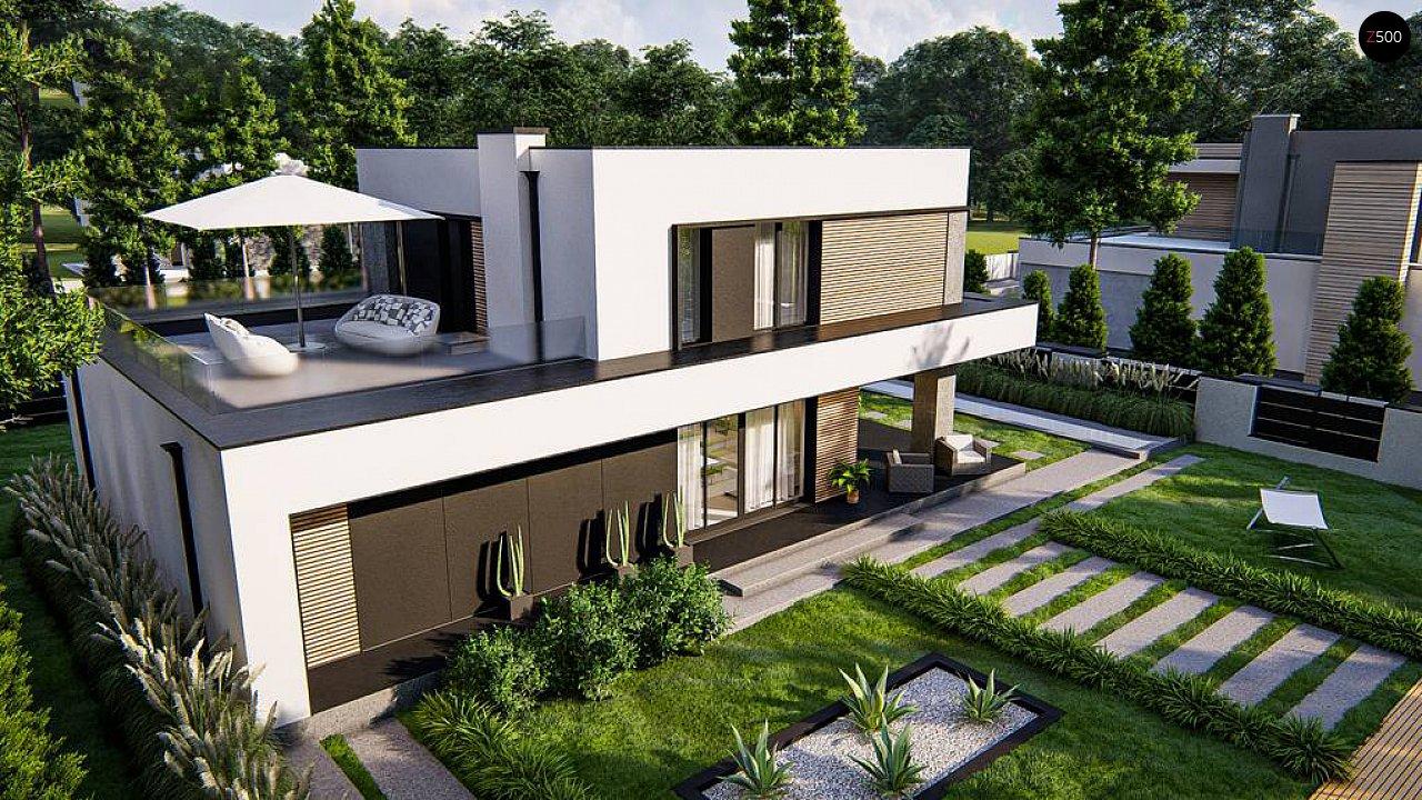 Cовременный двухэтажный дом с плоской крышей и гаражом на две машины. 3