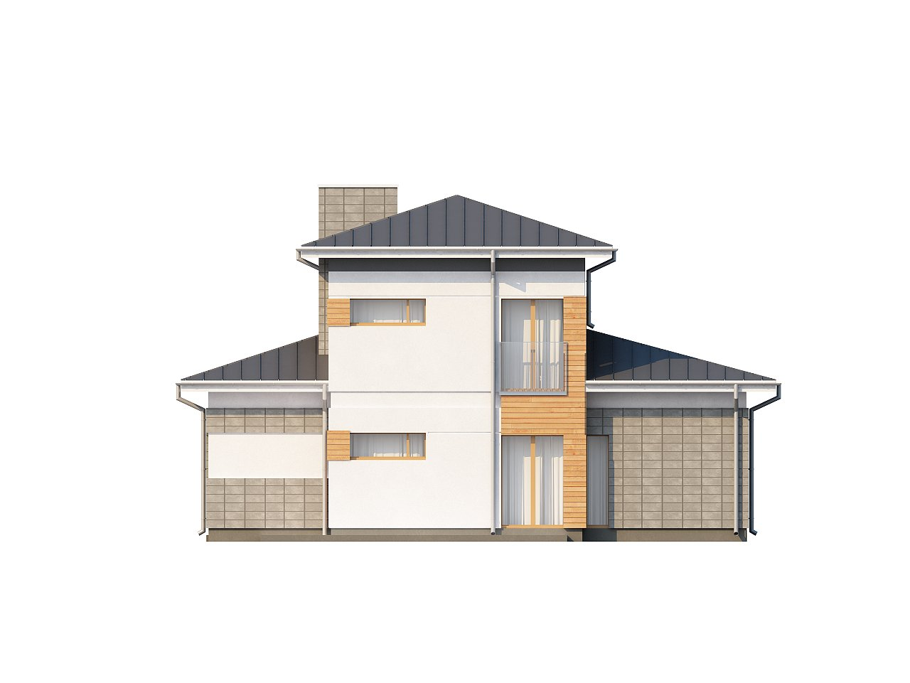 Проект удобного двухэтажного дома в стиле модерн с боковым гаражом. 5