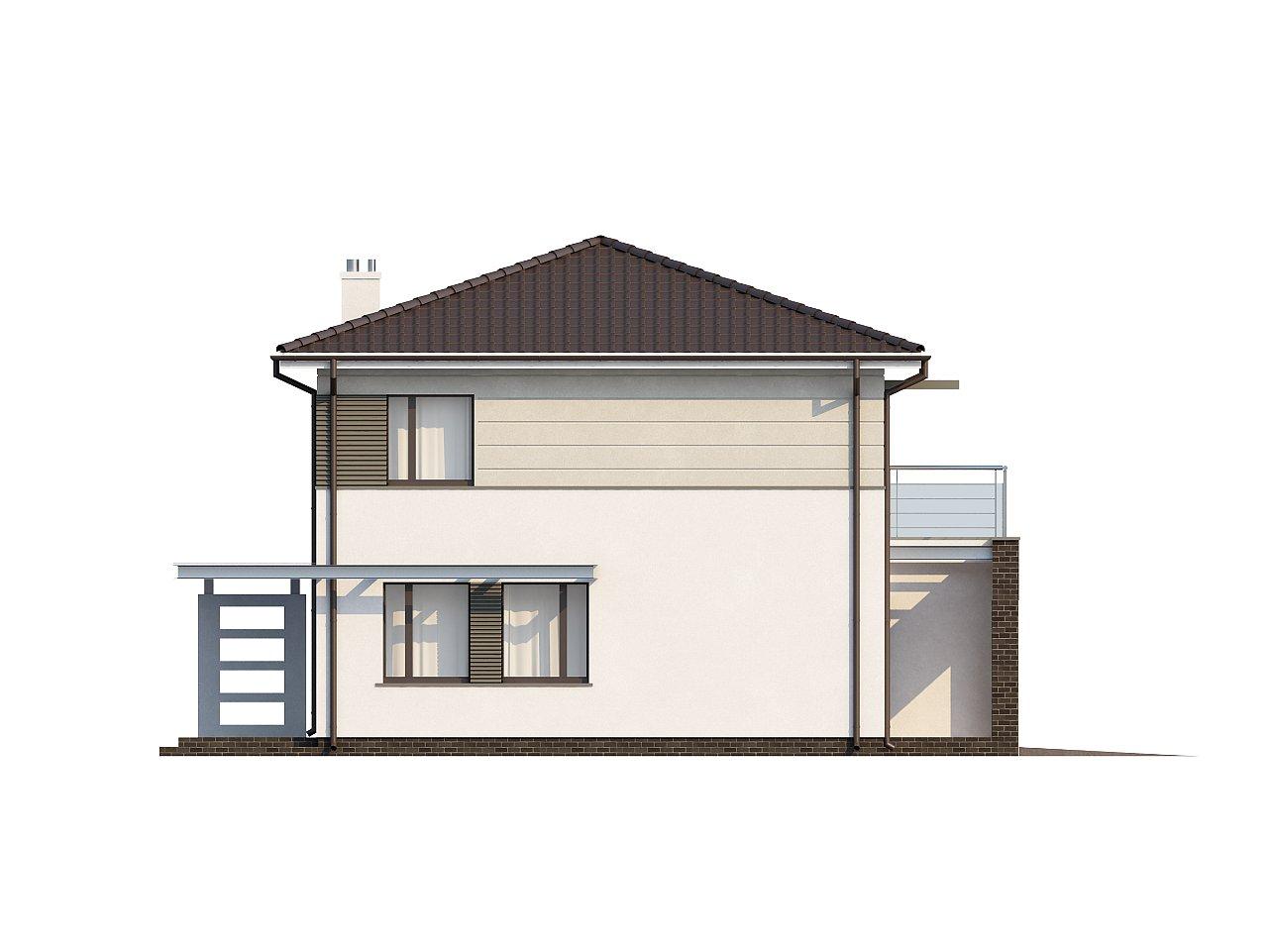 Практичный двухэтажный дом простой формы с низкой крышей, с гаражом для двух автомобилей. - фото 4