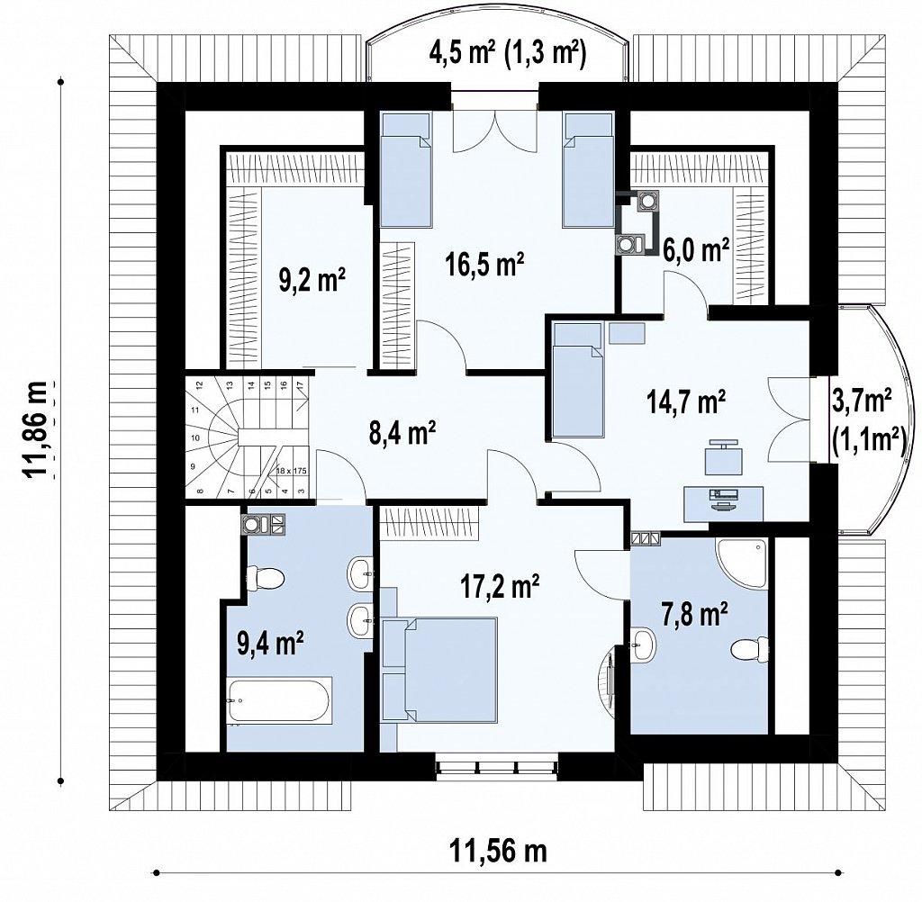 Элегантный классический дом с изящными мансардными окнами и балконами. план помещений 2