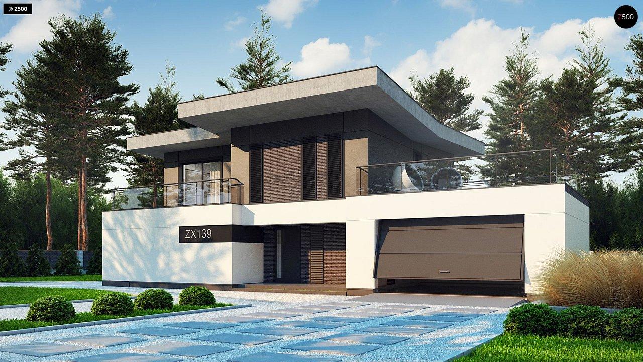 Современный стильный двухэтажный дом, с гаражом для двух машин 1