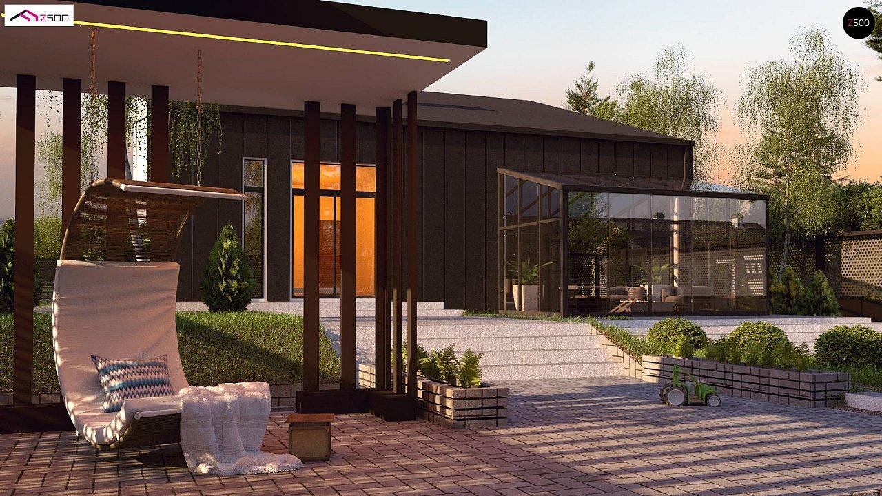 Проект современного двухэтажного дома с оригинальным экстерьером и гаражом на один автомобиль. 3