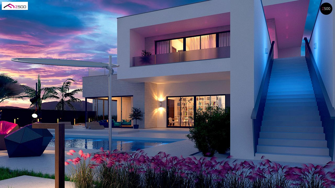 Стильный современный проект двухэтажного дома, подходит для строительства на участке со склоном. 5