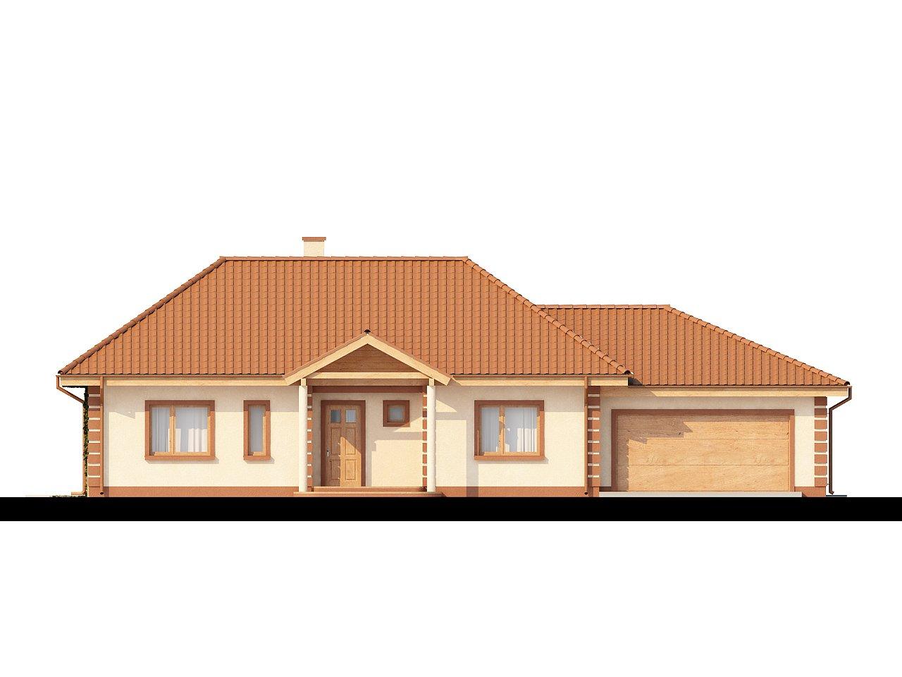 Стильный традиционный одноэтажный дом с гаражом для двух машин. 3
