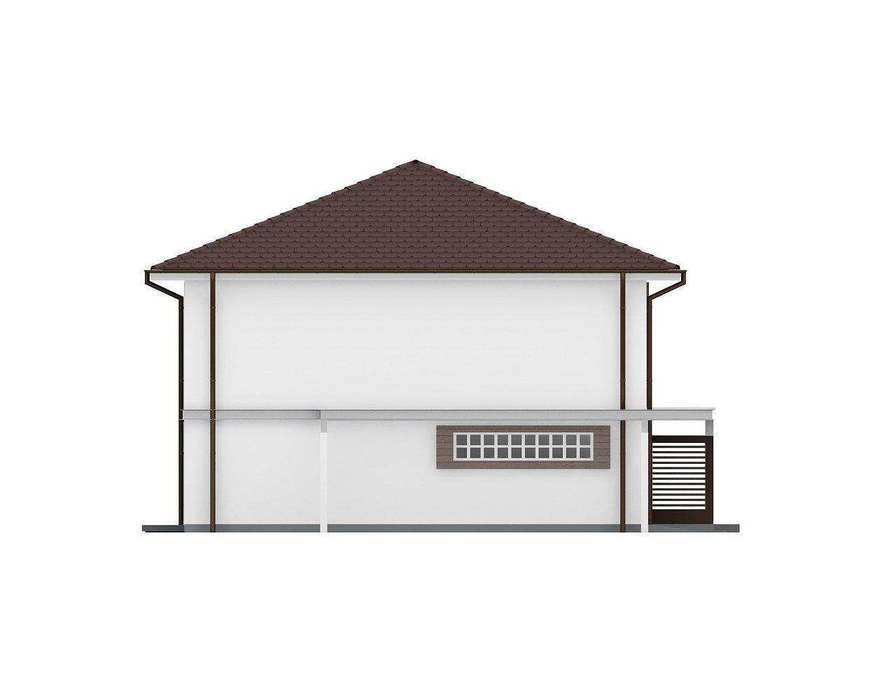 Двухэтажный дом простой формы со вторым светом над гостиной и встроенным гаражом. - фото 5