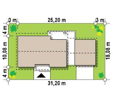 Версия проекта Z98 с гаражом для двух автомобилей и измененной планировкой. план помещений 1