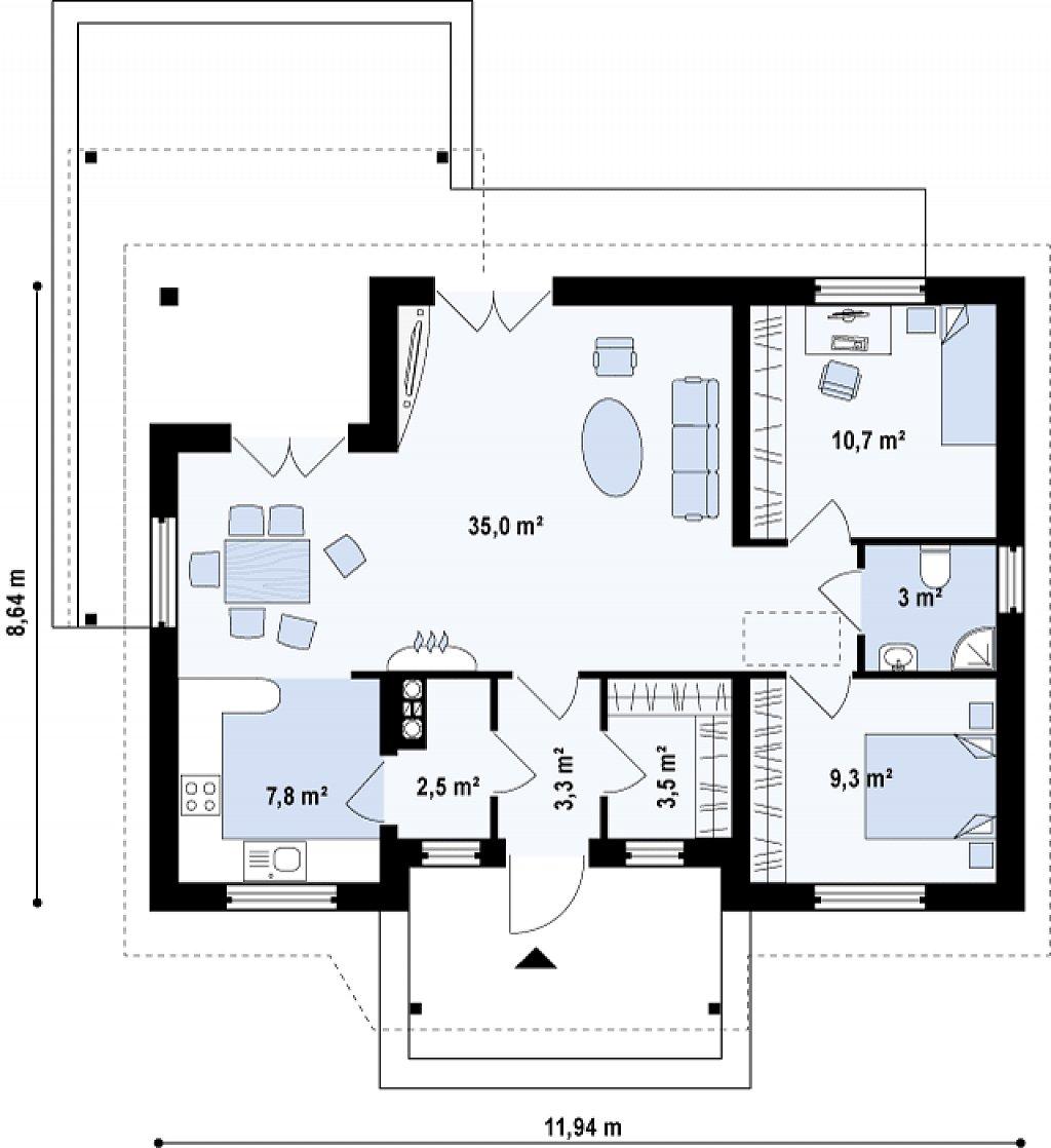 Проект одноэтажного дома с приятным дизайном план помещений 1