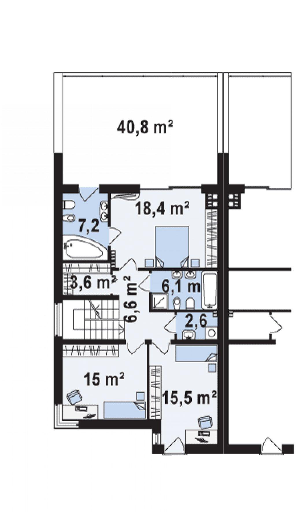 Дома для симметричной застройки с гаражом оригинального современного дизайна. план помещений 2