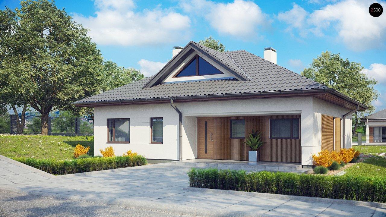 Проект комфортного одноэтажного дома с оригинальными фасадными окнами на чердаке. 2