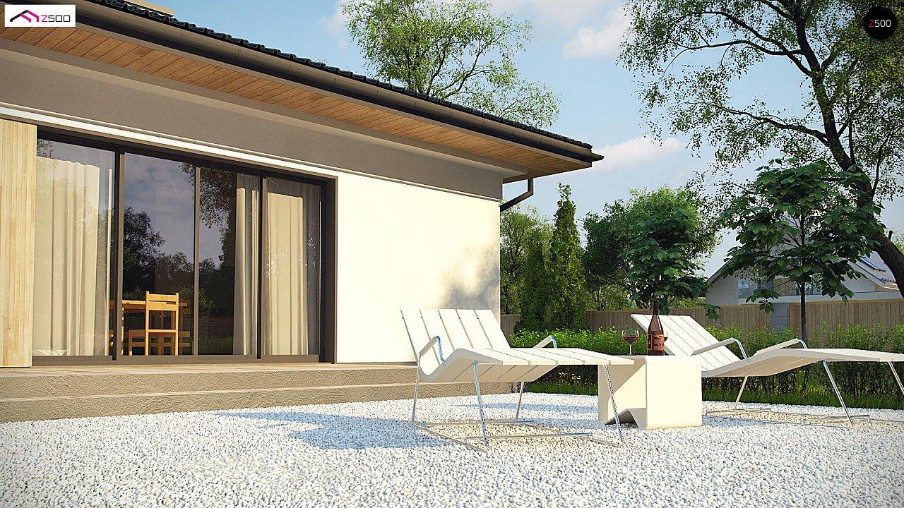 Дом для узкого участка с 4-х скатной крышей - фото 6