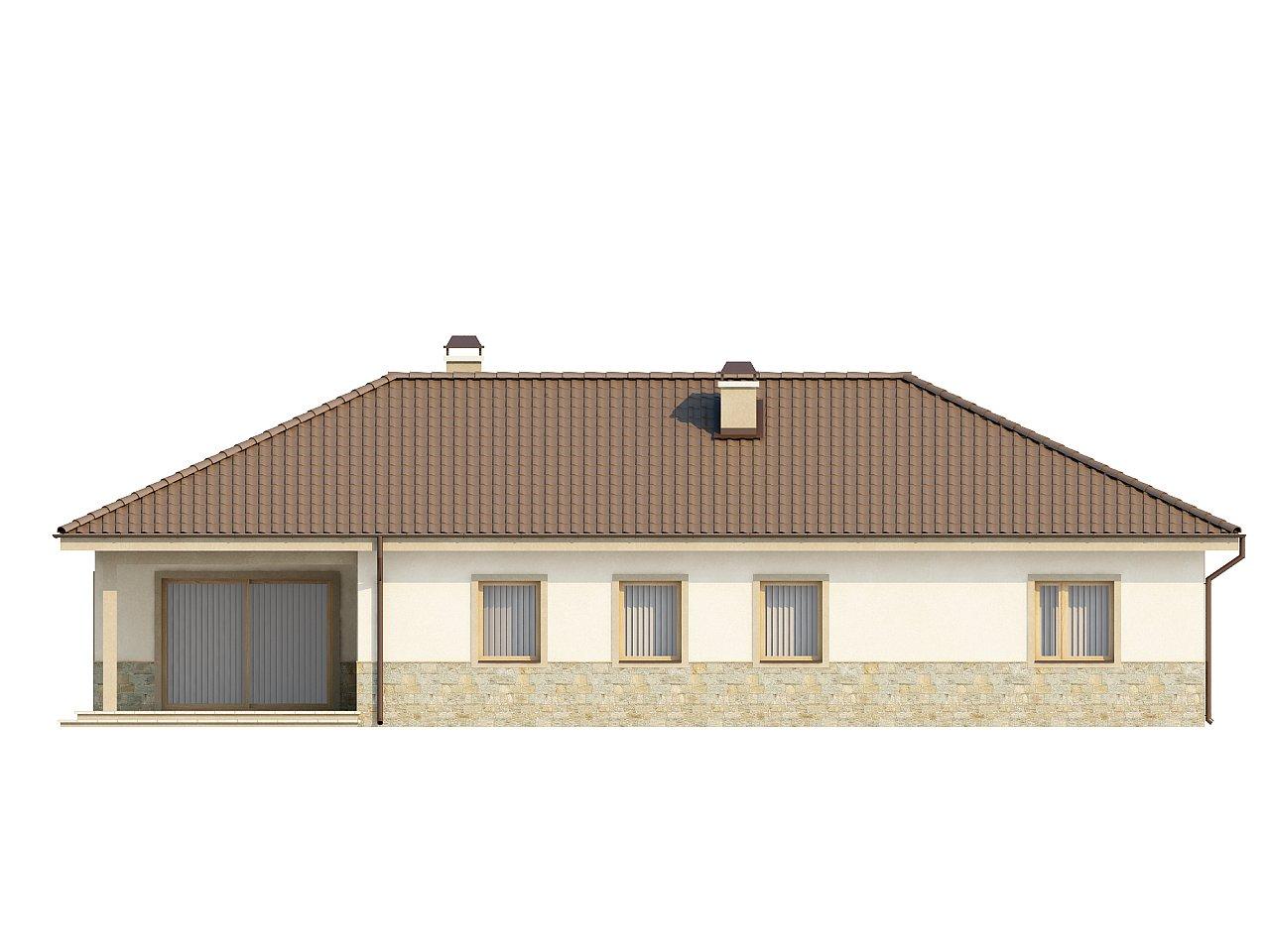 Одноэтажный дом в скандинавском стиле с дополнительной фронтальной террасой и гаражом на две машины. 6