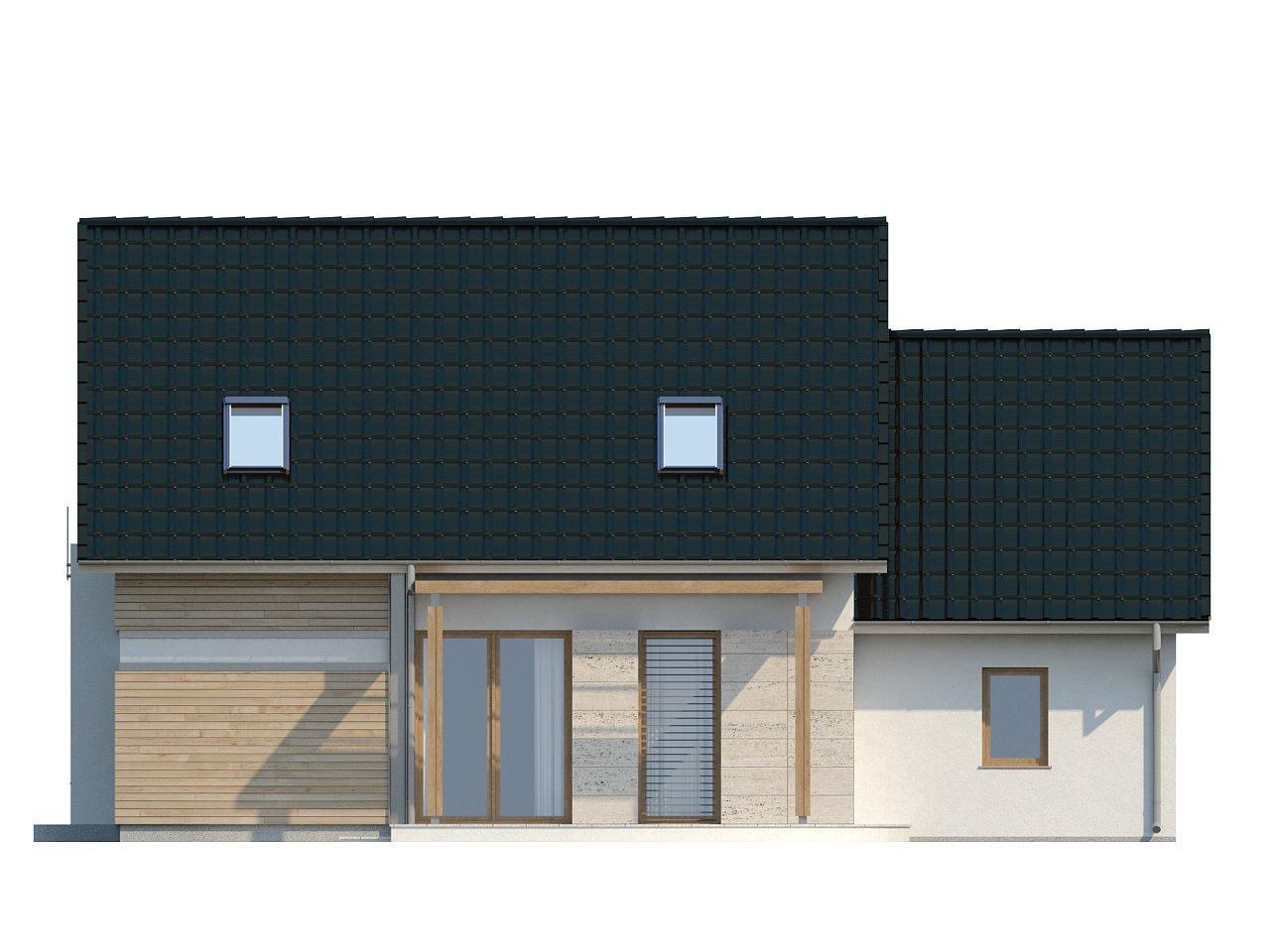 Проект практичного дома с эркером и гаражом на одну машину. 23