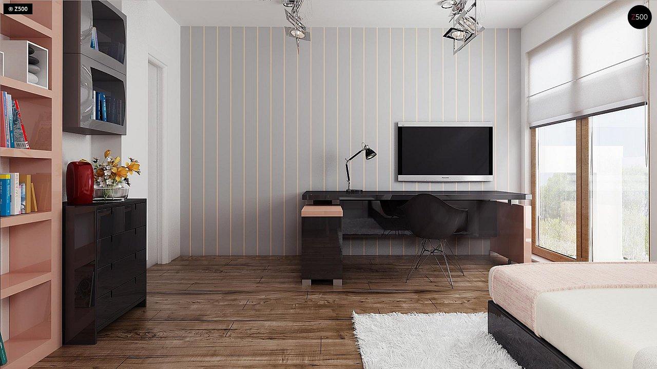 Проект функционального уютного дома с мансардными окнами и оригинальной отделкой фасадов. 12