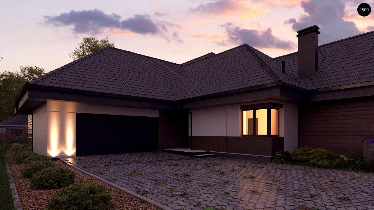 Одноэтажный дом в современном стиле, с многоскатной крышей и гаражом на два автомобиля. 5