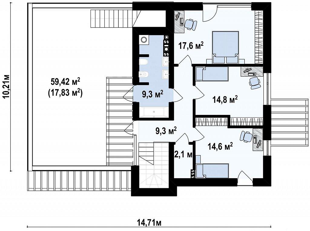 Комфортный современный дом с гаражом для двух авто и обширной террасой на втором этаже. план помещений 2
