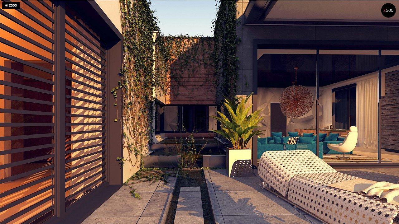 Одноэтажный дом с плоской кровлей в современном стиле и навесом для двух машин 4