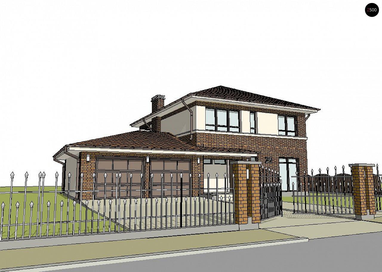Версия двухэтажного дома Zx24 c увеличенным гаражом для двух машин 3