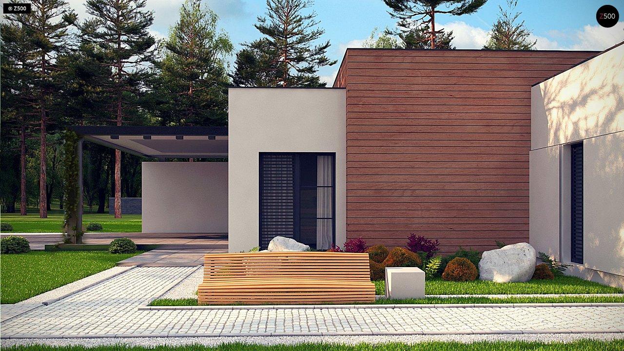 Одноэтажный дом с плоской кровлей в современном стиле и навесом для двух машин 5