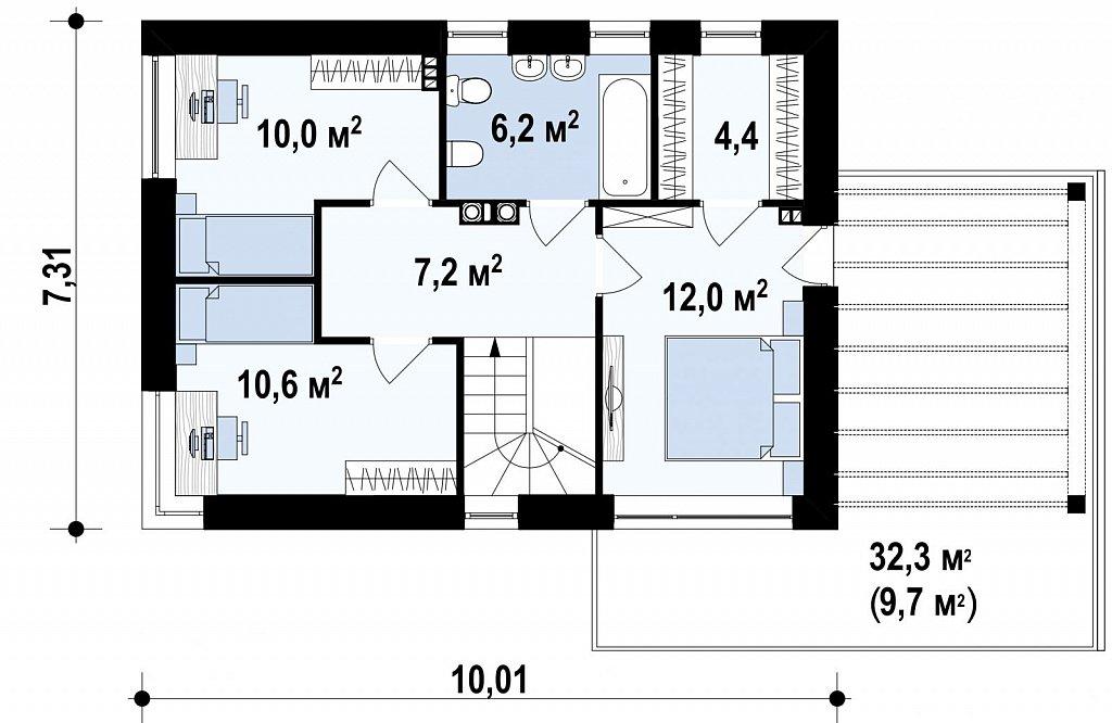 Современный элегантный дом с гостиной с фронтальной стороны. план помещений 2