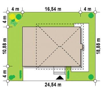 Версия проекта двухэтажного дома Zx2 c увеличенным гаражом план помещений 1