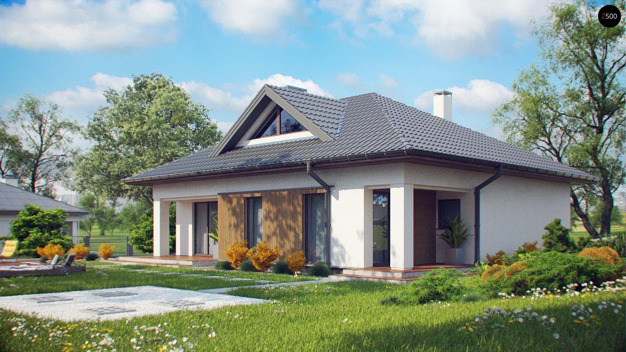 Проект комфортного одноэтажного дома с оригинальными фасадными окнами на чердаке. 3
