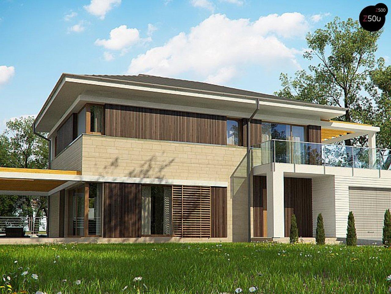 Проект функциональный двухэтажный дом с 4 спальнями и подвалом. 1