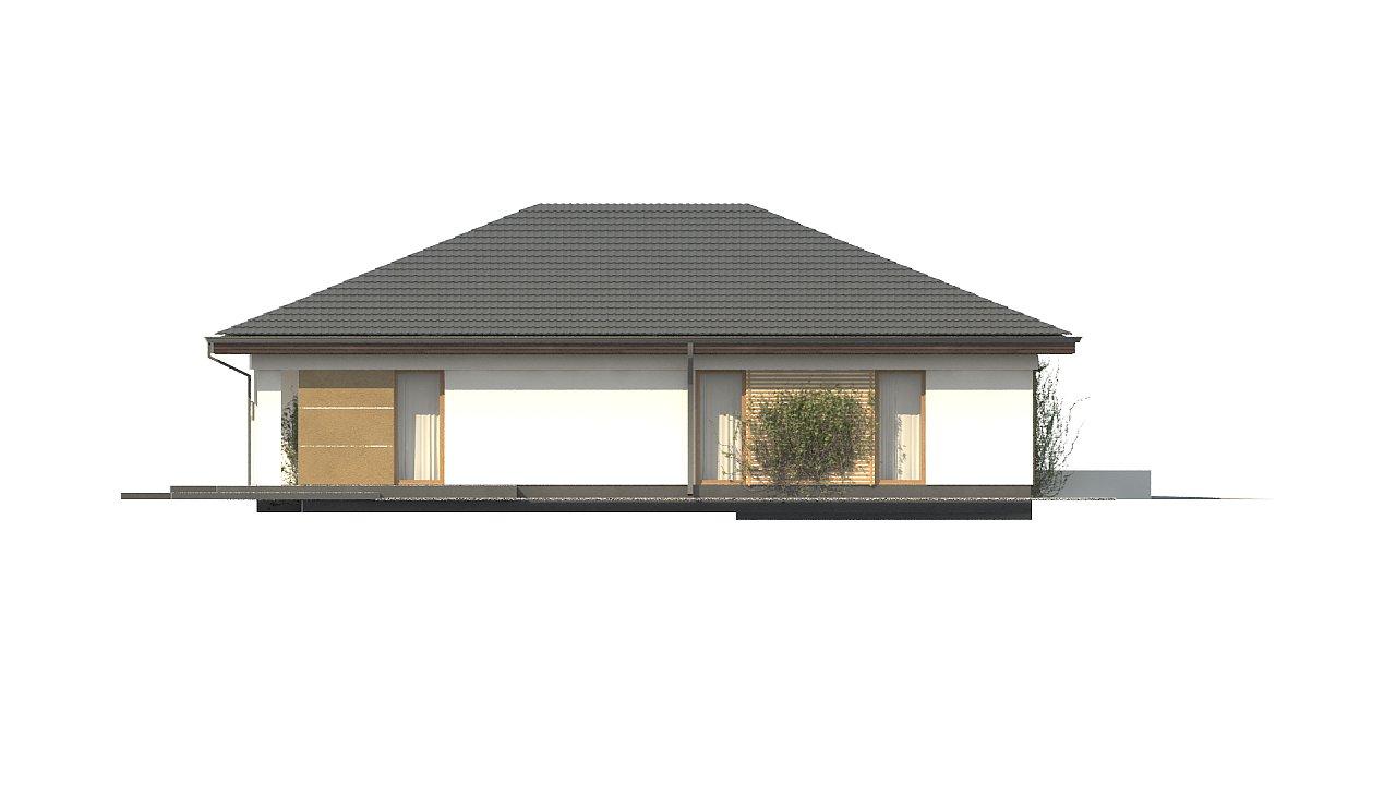Проект одноэтажного дома с многоскатной крышей и гаражом на одну машину. - фото 6