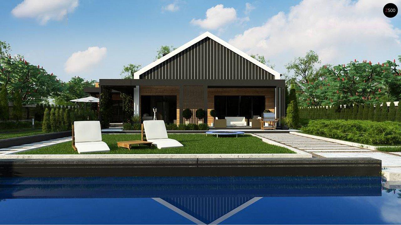 Современный мансардный проект дома с террасой и гаражом на две машины 2