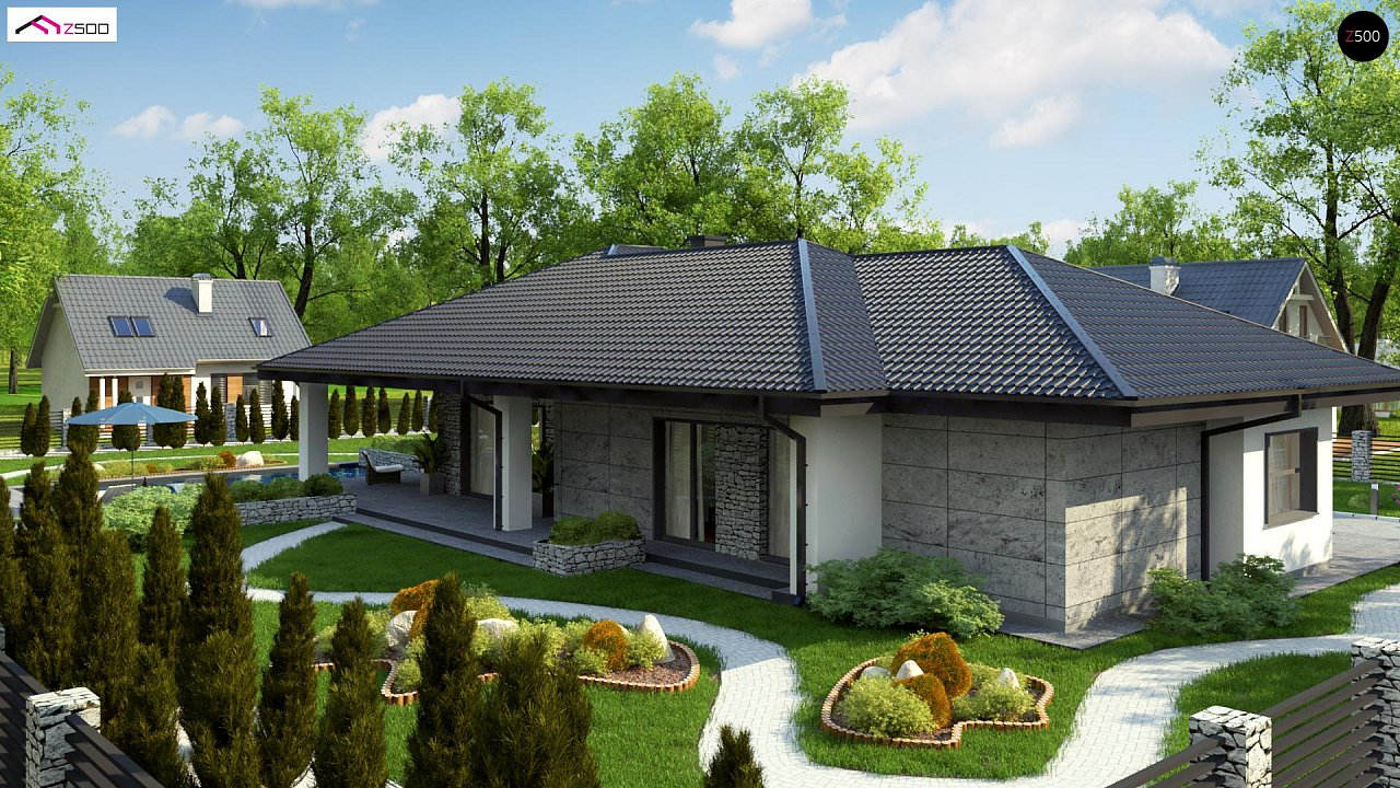 Одноэтажный дом с каменной облицовкой фасадов 3