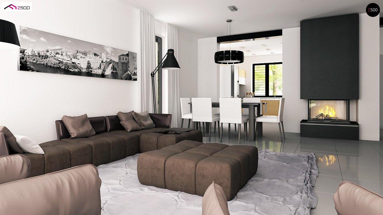 Проект дома с мансардой, с дополнительной спальней на первом этаже и с застекленной террасой. 7