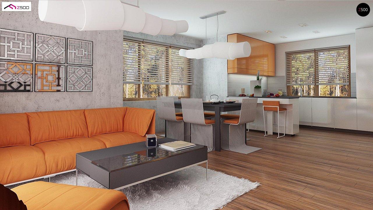 Элегантный дом простой формы со встроенным гаражом, эркером и балконом над ним. 7