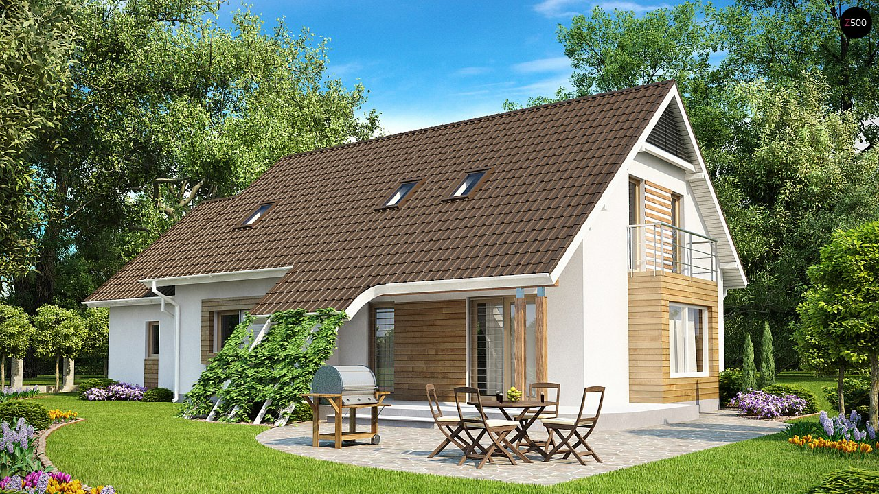 Проект просторного функционального дома с мансардой, гаражом для одной машины и дополнительной спальней на первом этаже. 1