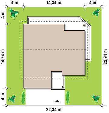 Дом традиционной формы с современными архитектурными дополнениями. Свободная планировка мансарды и антресоль над гостиной. план помещений 1
