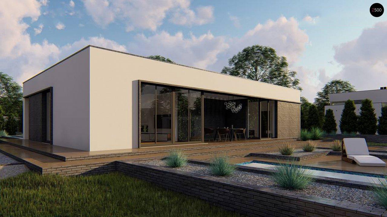 Одноэтажный современный дом с плоской крышей и белым фасадом 5