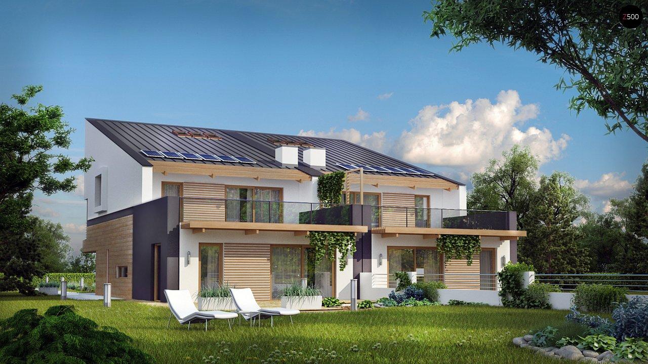 Дома для симметричной застройки с гаражом оригинального современного дизайна. 1