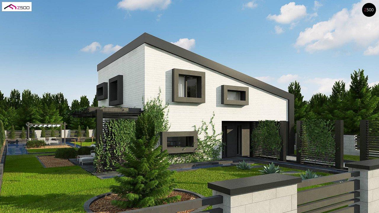 Проект двухэтажного дома с открытой дневной зоной и современным экстерьером. 1