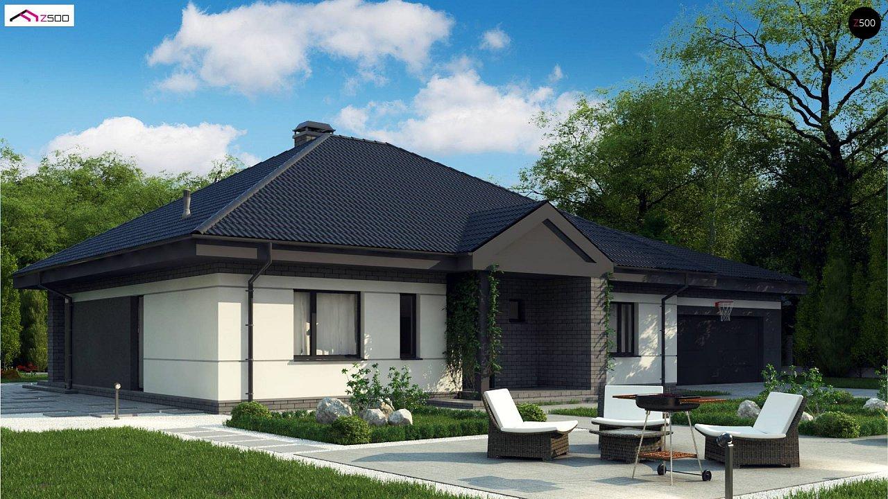 Проект одноэтажного дома с четырехскатной кровлей и гаражом на два автомобиля. 3