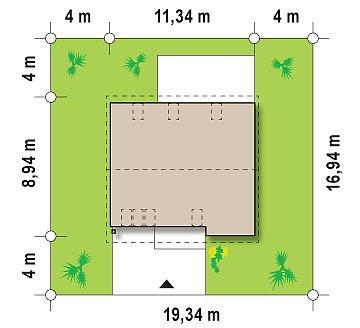 Функциональный традиционный дом с современными элементами в архитектуре, со встроенным гаражом. план помещений 1