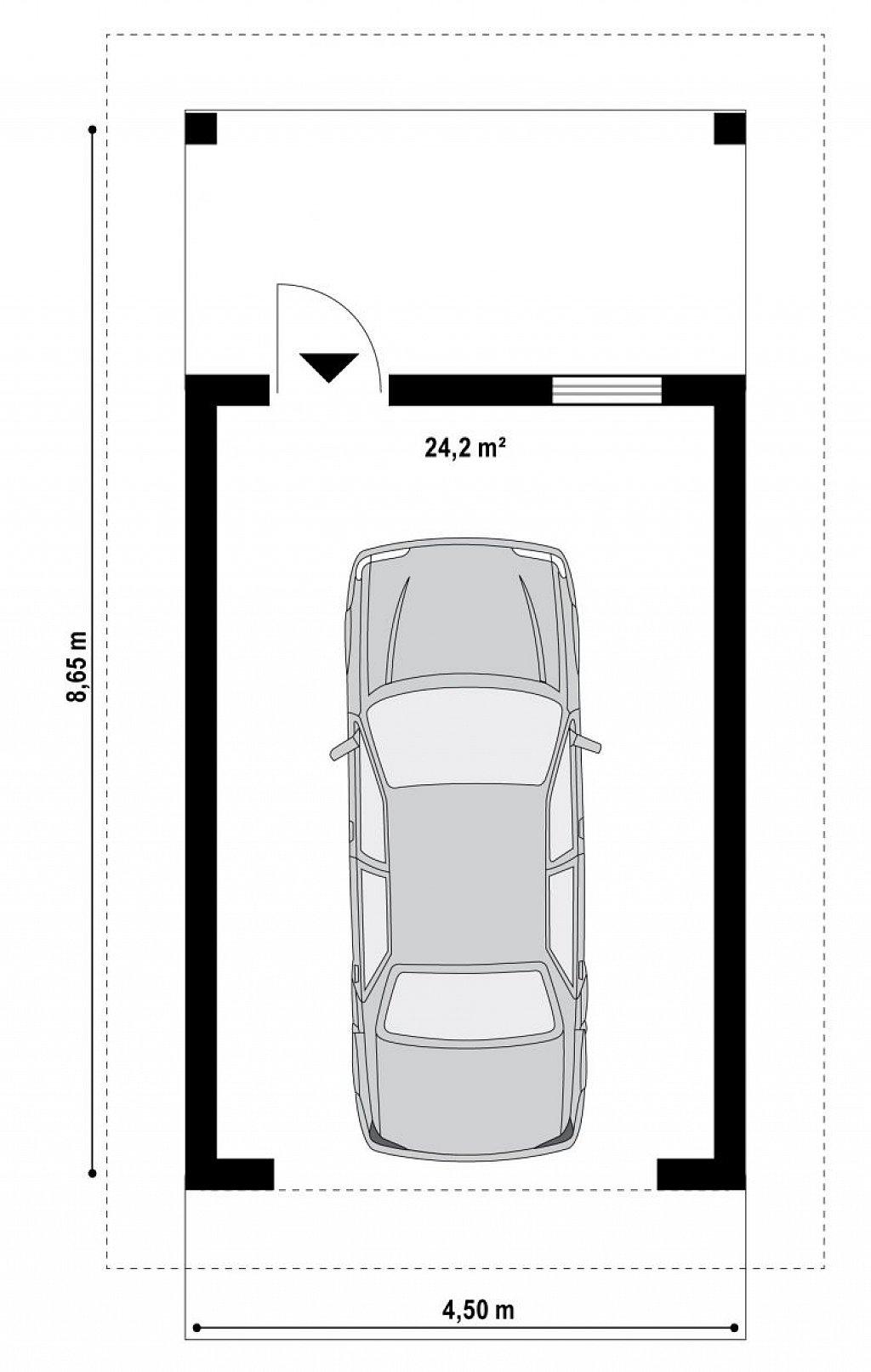 Аккуратный гараж в традиционном стиле на 1 машину план помещений 1