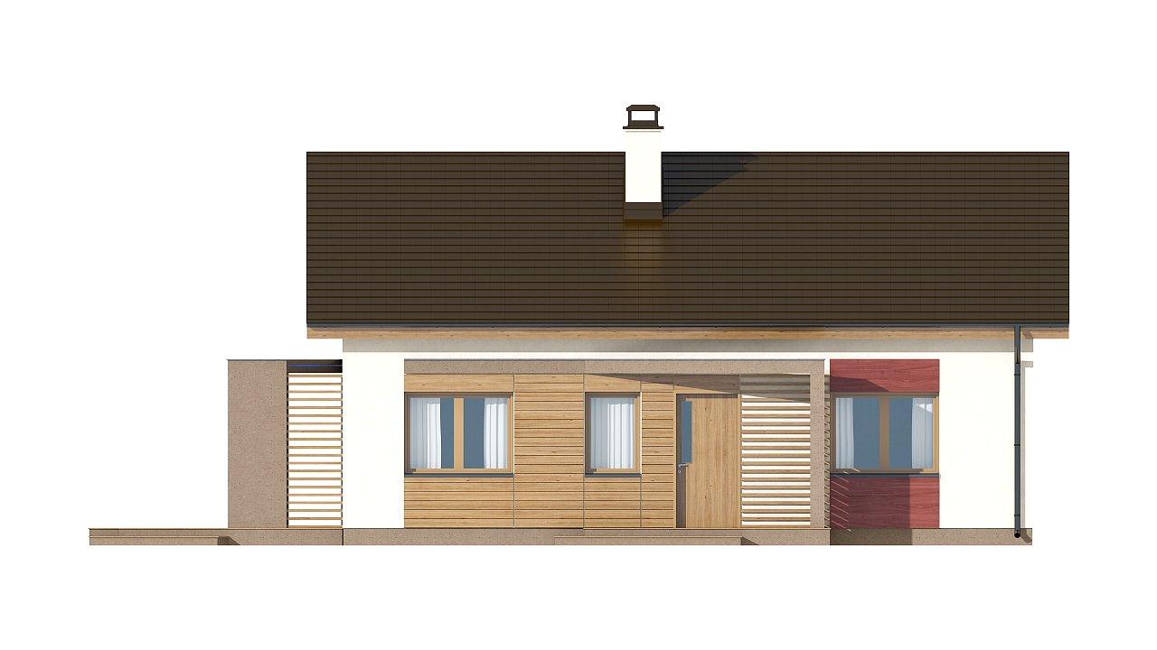 Небольшой одноэтажный дом с оригинальным оформлением террас. 15