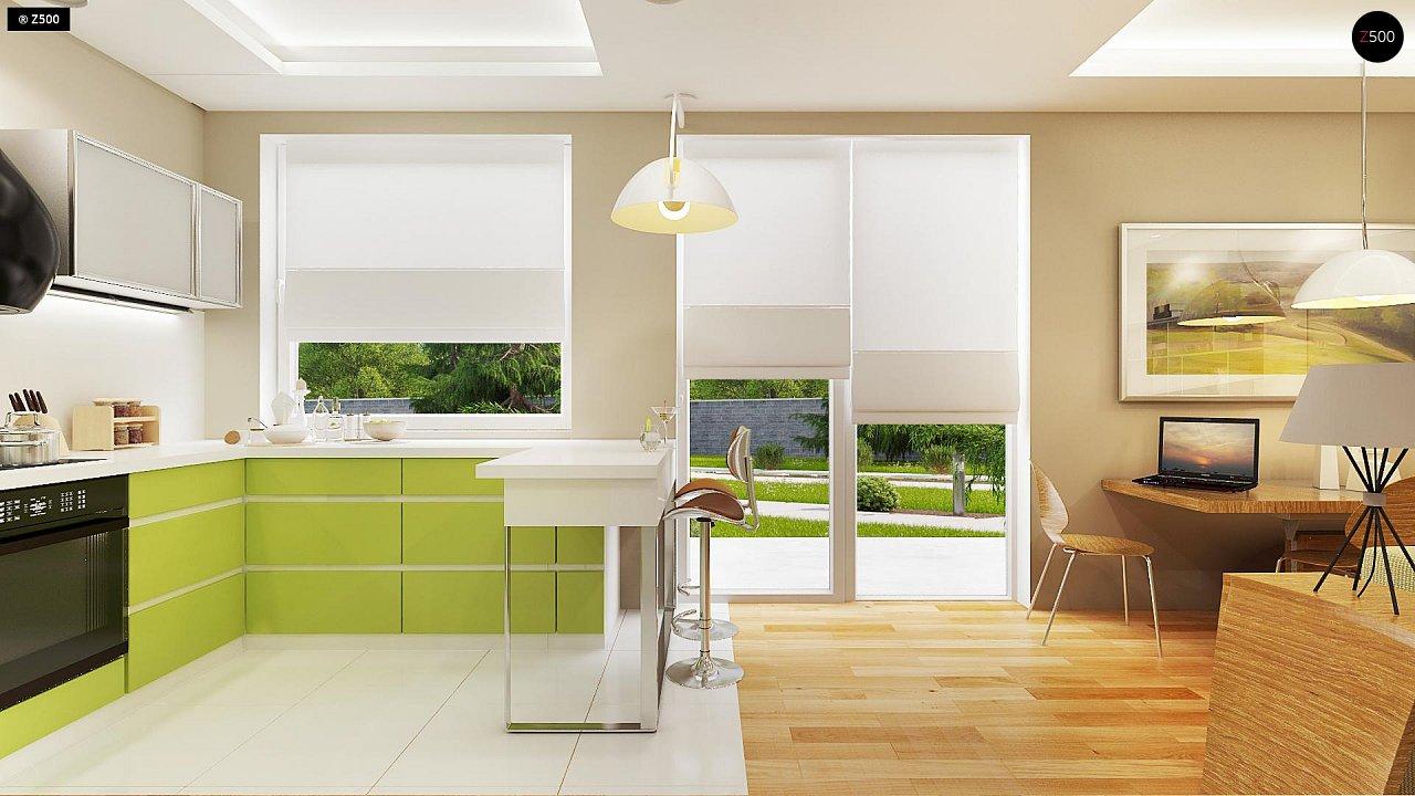 Аккуратный небольшой одноэтажный дом простой конструкции с кухней со стороны сада. 6