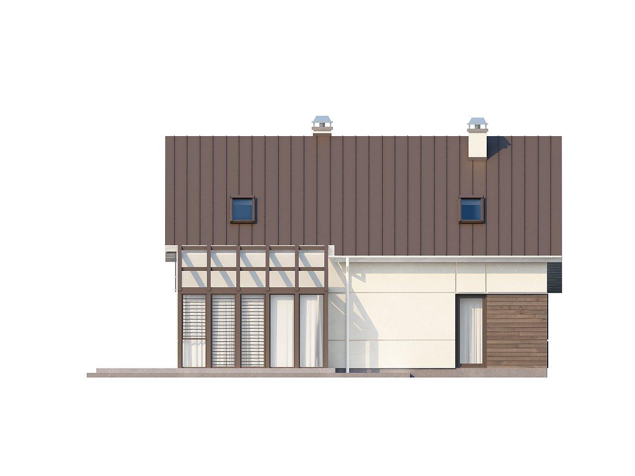Проект дома с мансардой, с дополнительной спальней на первом этаже и с застекленной террасой. 10
