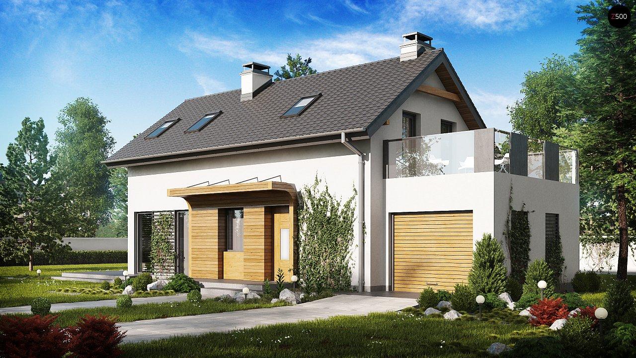 Практичный и уютный дом с оригинальным оформлением фасадов, идеальный для неглубокого участка. - фото 1