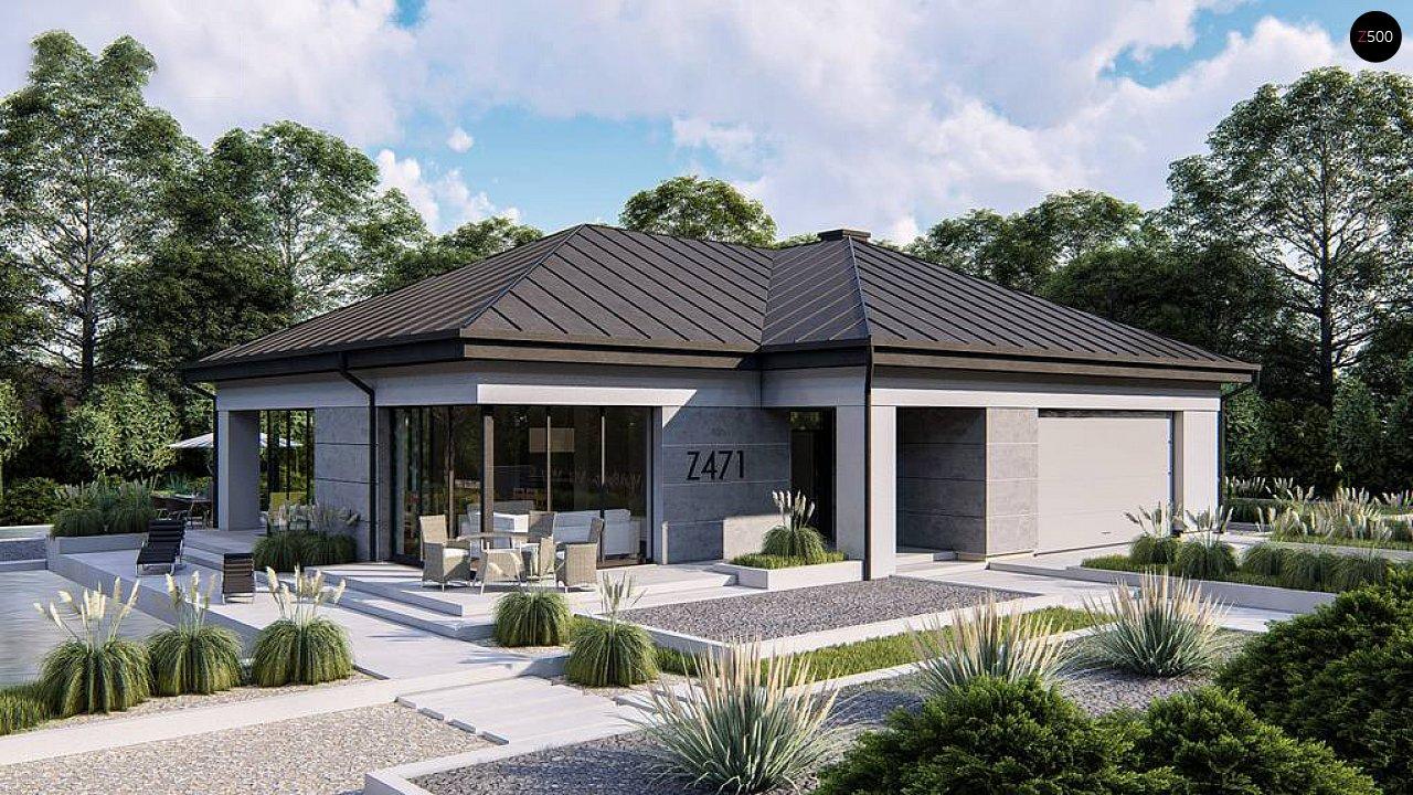 Одноэтажный современный проект дома с многоскатной крышей и гаражом на две машины. 3