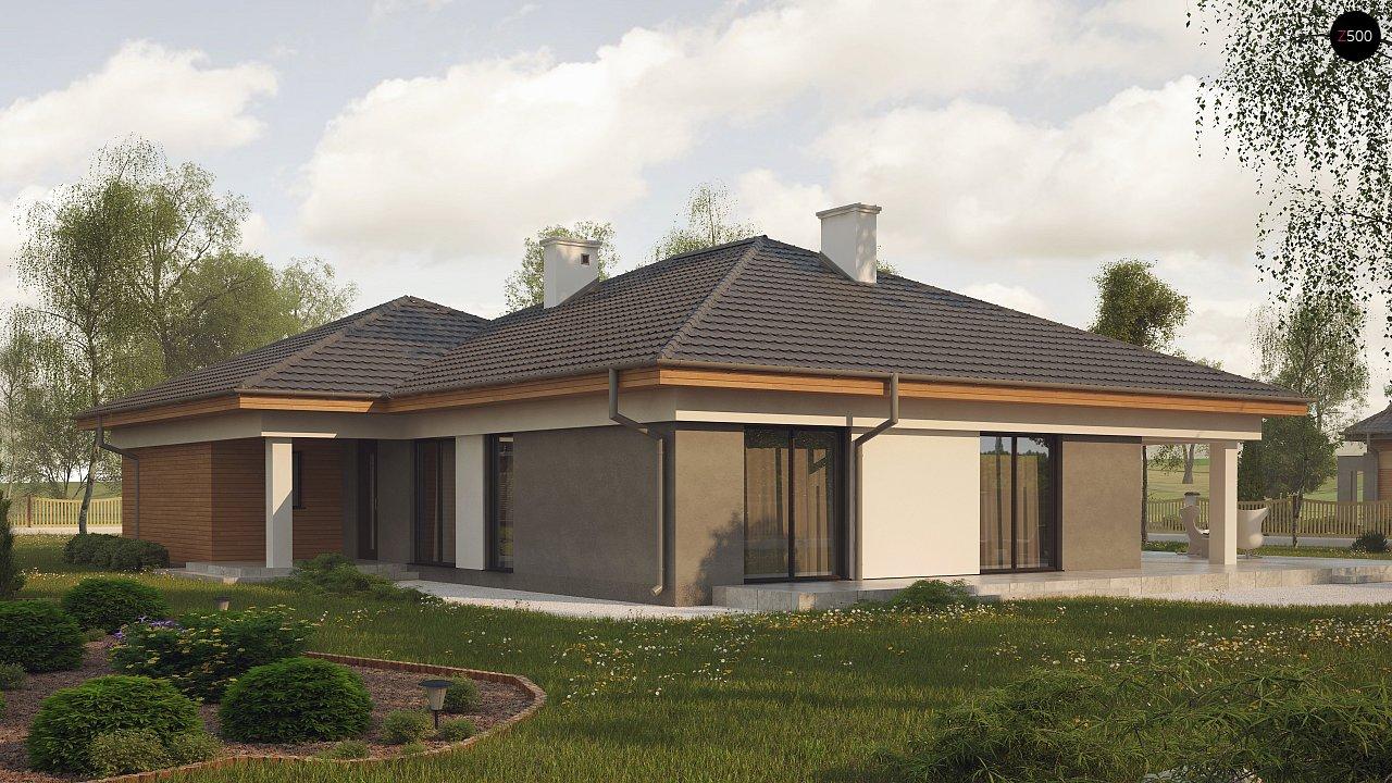 Одноэтажный просторный дом с эркером и крытой террасой. 3
