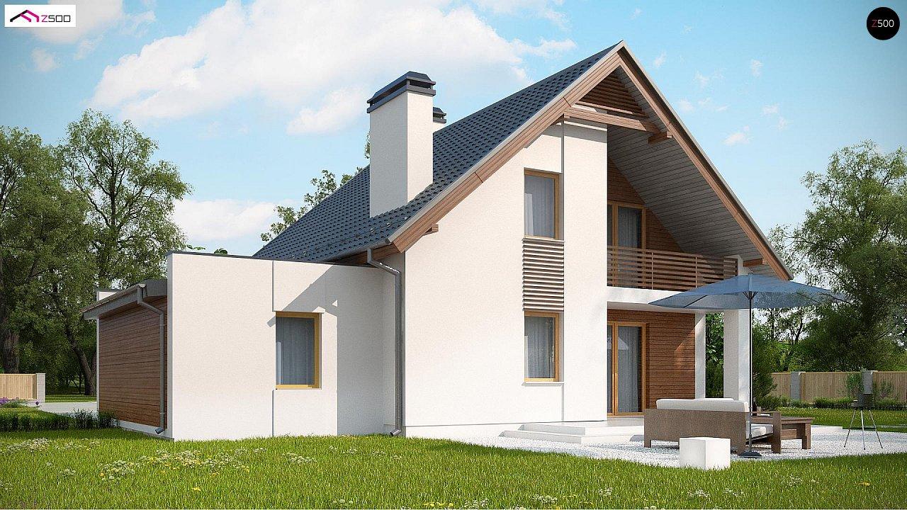 Проект мансардного дома в классическом стиле с гаражом на одно авто. 4