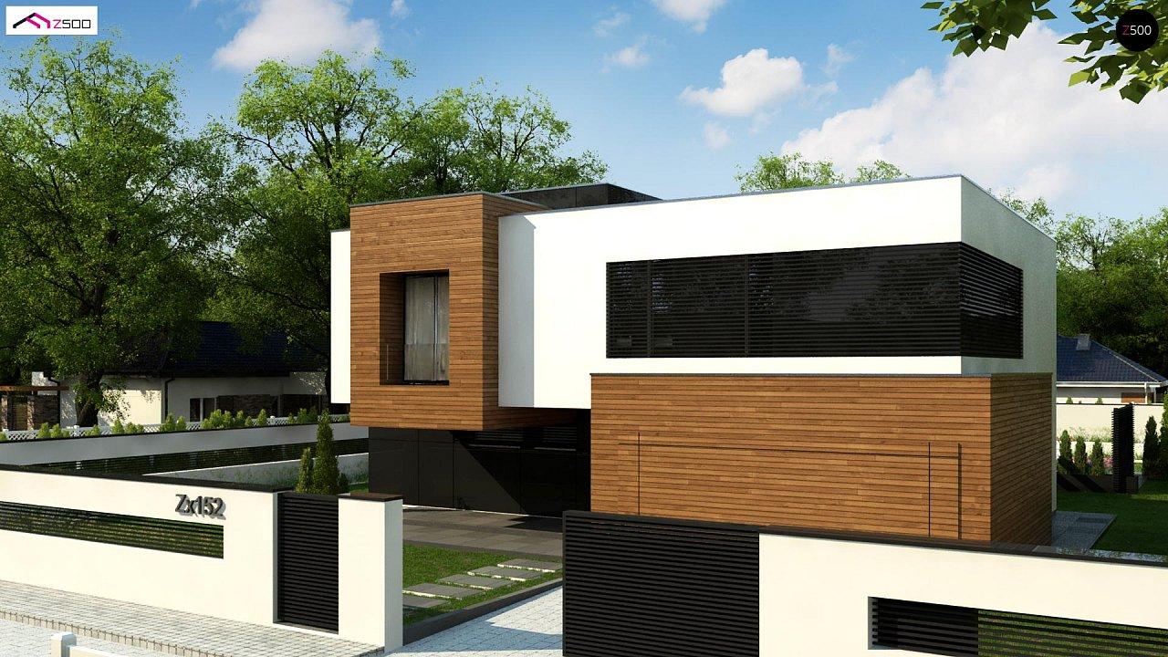 Двухэтажный коттедж с плоской крышей и большой террасой 1