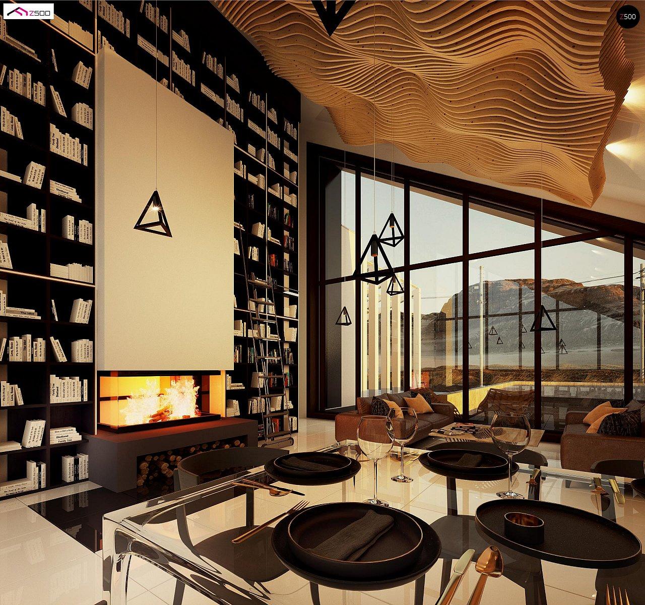 Современный дом с просторной гостиной и большим остеклением - фото 8