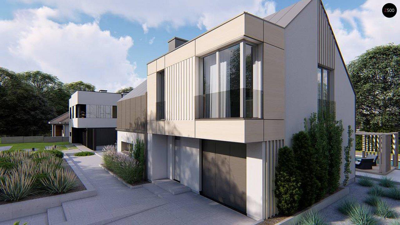 Cовременный проект дома с двускатной крышей и просторными большими мансардными окнами 4
