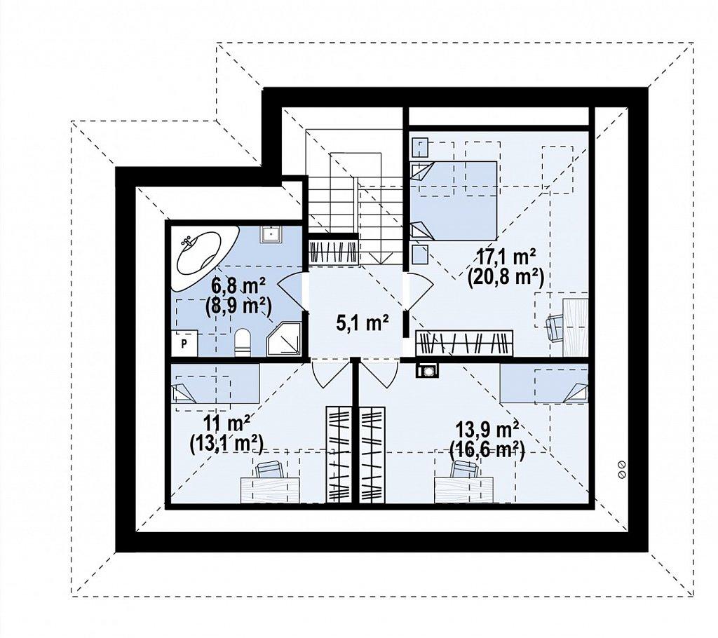 Двухэтажный дом с мансардой план помещений 2